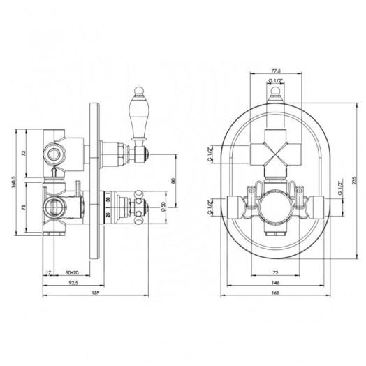 Змішувач термостатичний прихованого монтажу для душу Bianchi Termostatici INDTRM207400CRM для двох споживачів