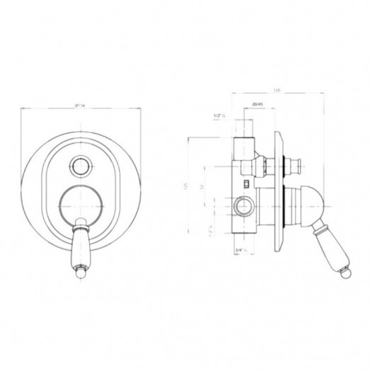 Смеситель скрытого монтажа для душа Bianchi Elite INDELT2010011CRM на два потребителя