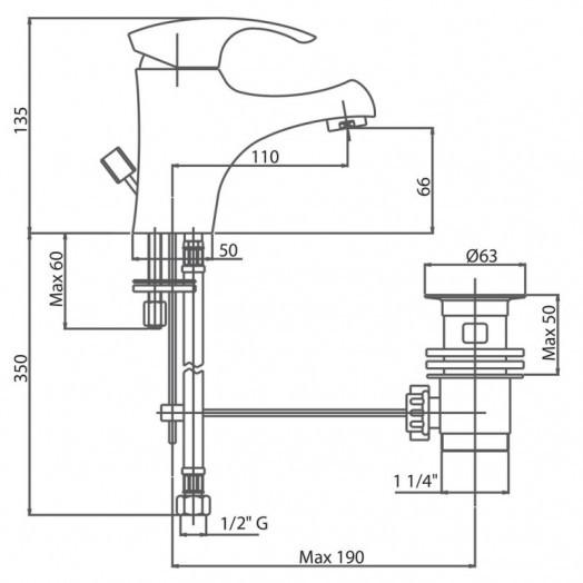 Смеситель для раковины Bianchi Century LVBCEN2002IACRM