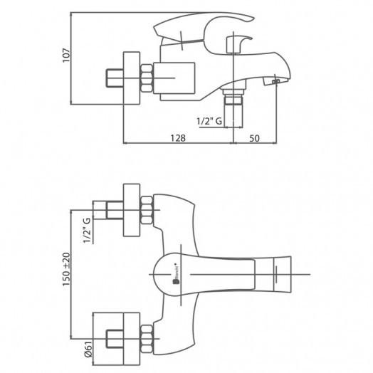 Змішувач для ванни Bianchi Century VSCCEN2004SKCRM