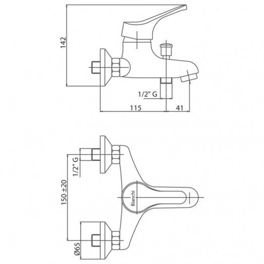 Змішувач для ванни Bianchi Delta VSCSTR2004DLTSKCRM