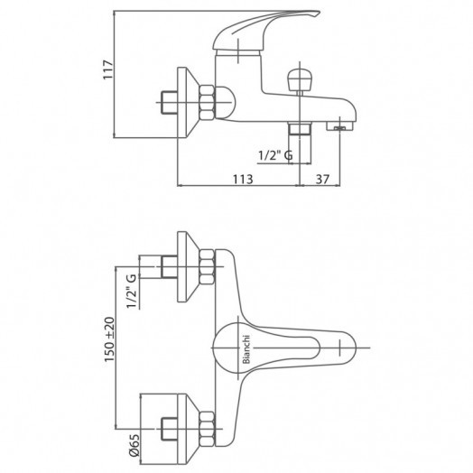 Смеситель для ванны Bianchi Mistral VSCMST2004SKCRM