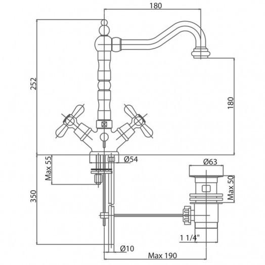 Смеситель для раковины Bianchi Old LVBOLF10400ACRM