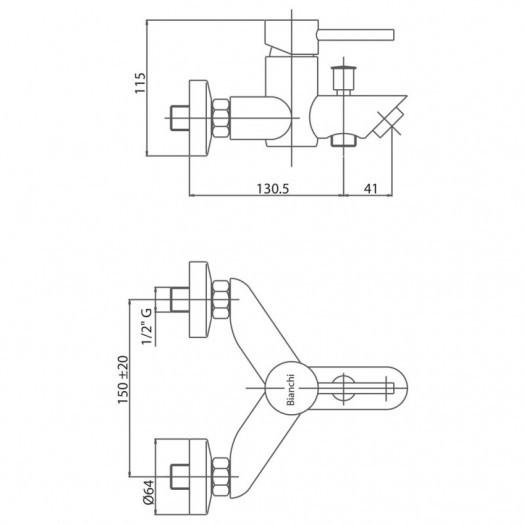 Змішувач для ванни Bianchi Style NKS VSCSTY2004SKNKS