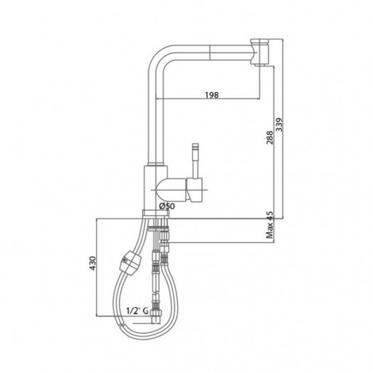 Смеситель для кухни с выдвижным изливом Bianchi Mody LVMMDY2008ACRM