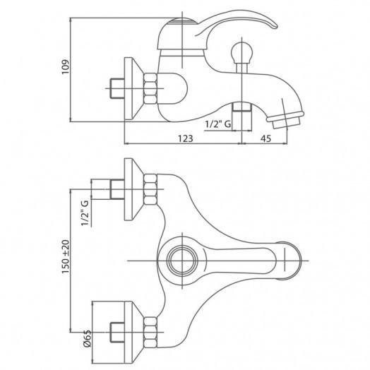 Змішувач для ванни Bianchi Class VSCCLS2004SKBLC