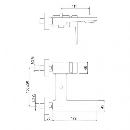 Смеситель для ванны Bianchi Jump VSCJUM2004065SKCRM