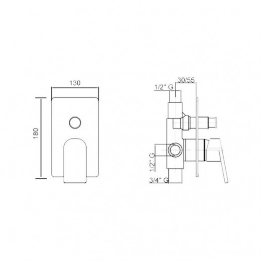 Змішувач прихованого монтажу для душу Bianchi Jump INDJUM2010065CRM для двох споживачів