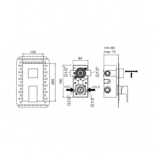 Змішувач прихованого монтажу для душу Bianchi Jump INDJUM2303065CRM для двох споживачів