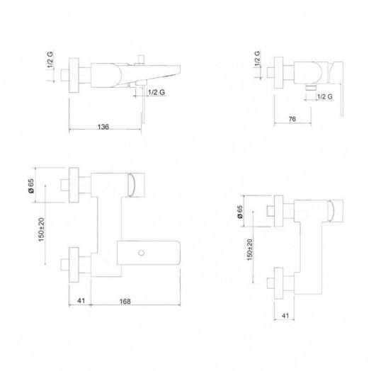Змішувач для ванни Bianchi Freedom VSCFRE2004046SKCRM