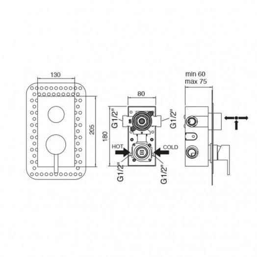 Змішувач прихованого монтажу для душу Bianchi Freedom INDFRE2303046CRM для двох споживачів