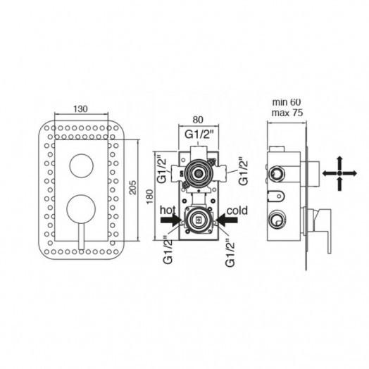 Змішувач прихованого монтажу для ванни Bianchi Freedom INDFRE2304046CRM для трьох споживачів