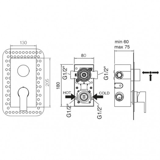 Змішувач прихованого монтажу для ванни Bianchi Dream INDDRM2304CRM для трьох споживачів