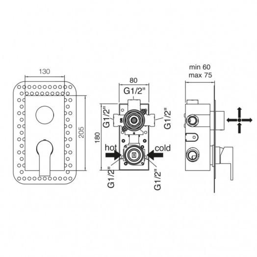 Змішувач прихованого монтажу для ванни Bianchi Fly INDFLY2304073CRM для трьох споживачів