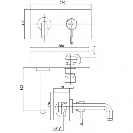 Змішувач для раковини прихованого монтажу Bianchi Mody LVBMDY2027CRM