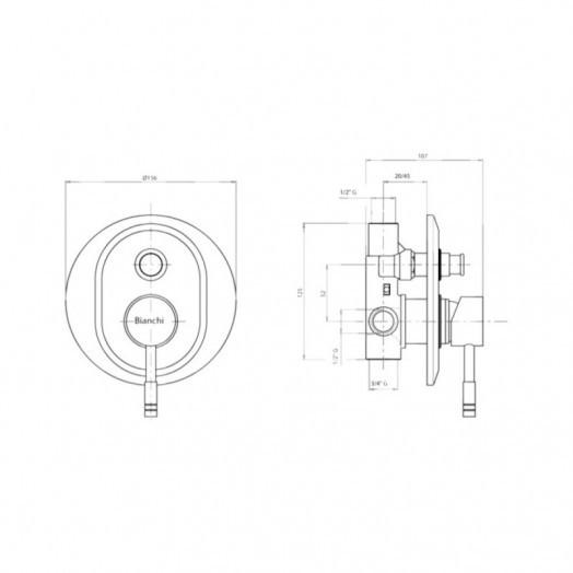 Змішувач прихованого монтажу для душу Bianchi Mody INDMDY2010CRM для двох споживачів