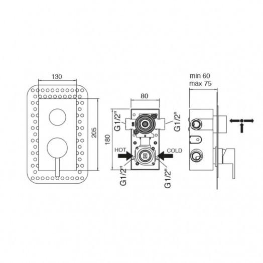 Змішувач прихованого монтажу для душу Bianchi Mody INDMDY2303CRM для двох споживачів