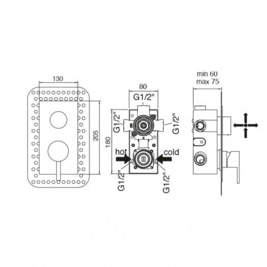 Змішувач прихованого монтажу для ванни Bianchi Mody INDMDY2304CRM для трьох споживачів