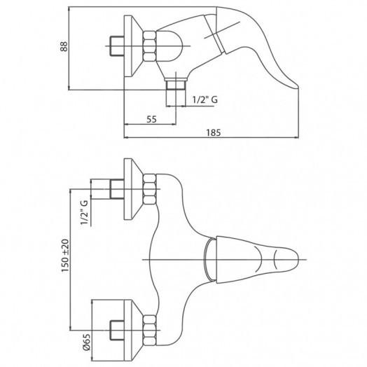 Змішувач для душу Bianchi Europe ESDEUR200503600CRM