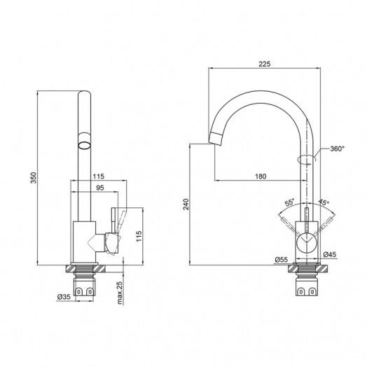 Смеситель для кухни Brinex 20N 007F
