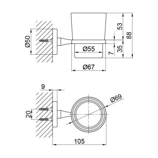Склянка настінна SW 22-103CRM