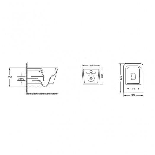 Унітаз підвісний Qtap Crow безобідковий з сідінням Slim Soft-close QT05335170W