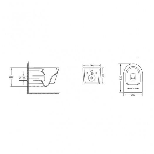 Унитаз подвесной Qtap Jay безободковый с сидением Slim Soft-close QT07335176W