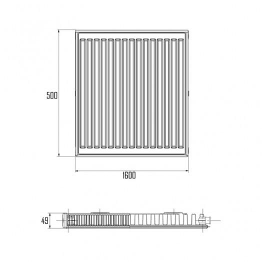Радиатор стальной Daylux 11-К 500х1600 нижнее подключение
