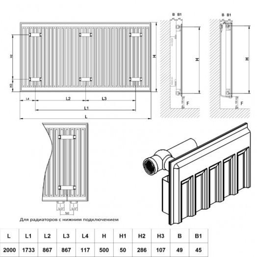Радиатор стальной Daylux 11-К 500х2000 нижнее подключение