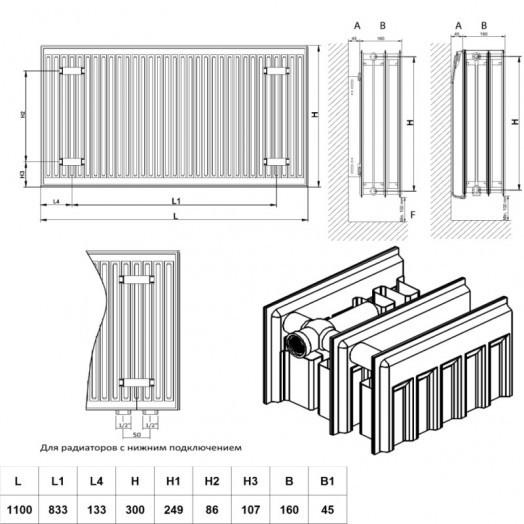 Радиатор стальной Daylux 33-К 300х1100 боковое подключение
