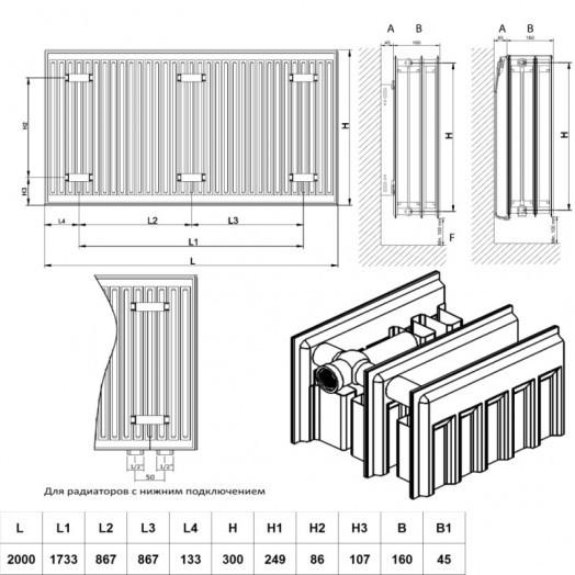 Радиатор стальной Daylux 33-К 300х2000 боковое подключение