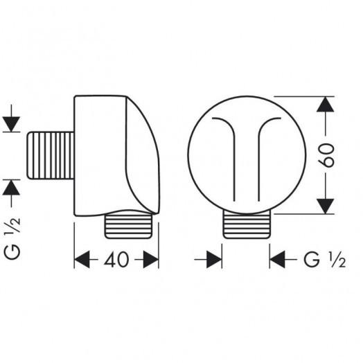 Подключение для шланга Hansgrohe Fixfit E 27454000