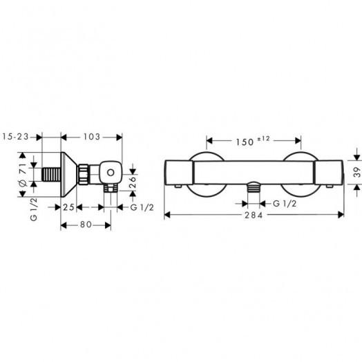 Змішувач для душу термостатичний Hansgrohe Ecostat Universal 13122000
