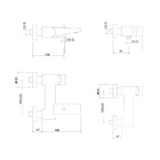 Смеситель для ванны Bianchi Freedom VSCFRE200400CRM